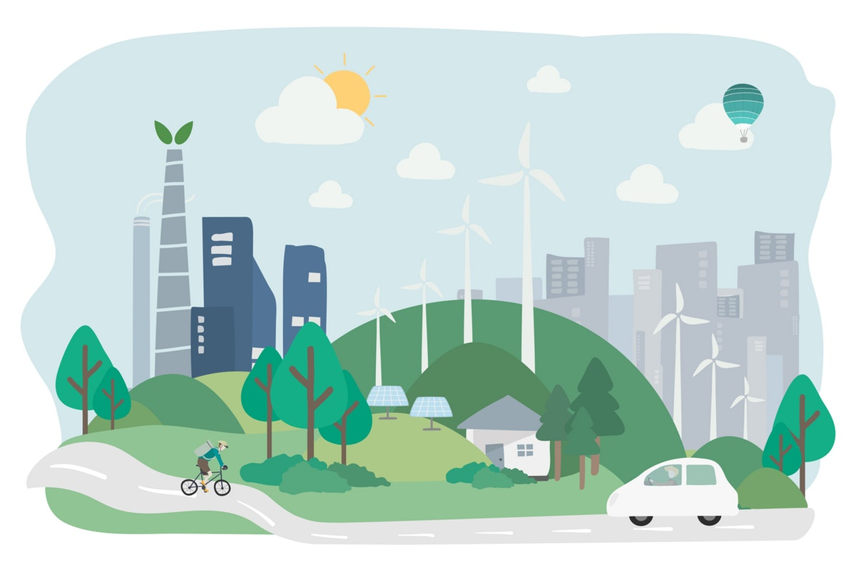 Illustration of environmentally friendly city